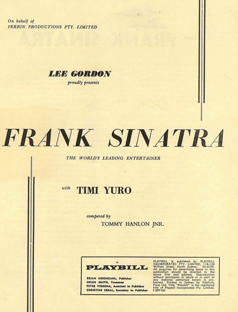 Frank Sinatra Sydney Concert 1961 Inside