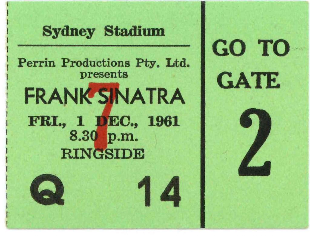Frank Sinatra Sydney Concert 1961 Ticket