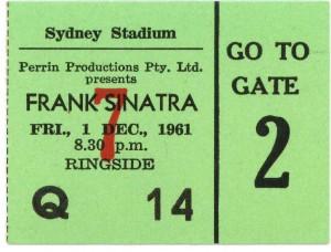 Frank Sinatra 1961 Sydney Concert Ticket