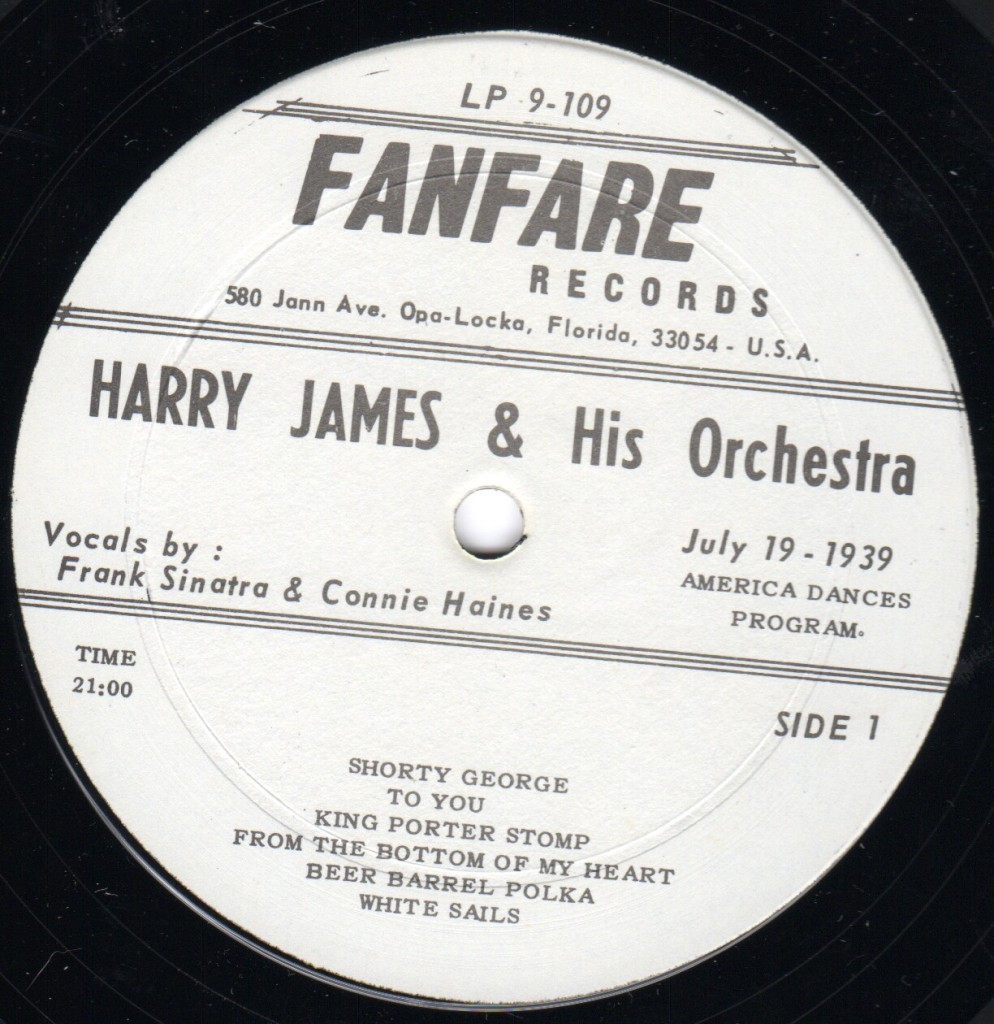 1939-07-19 Frank Sinatra Harry James America Dances Program LP